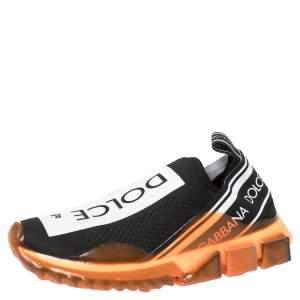 Dolce & Gabbana Black/Orange Stretch Jersey Logo Print Slip On Sneakers Size 39