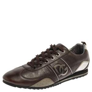 Dolce & Gabbana Brown/Silver Leather Low Top Sneakers Size 42