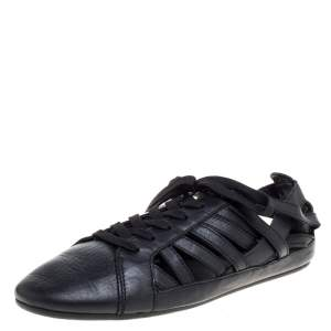 Dolce & Gabbana Black Leather Cutout Sneakers Size 43
