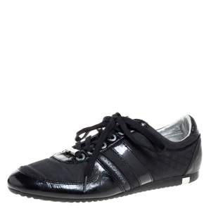 Dolce & Gabbana Black Leather and Fabric Low Top Sneakers Size 43