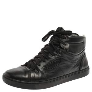 Dolce & Gabbana Black Leather High Top Sneakers Size 41