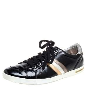 Dolce & Gabbana Black Patent Leather Low Top Sneakers Size 41