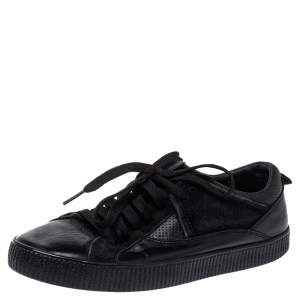 Dolce & Gabbana Black Leather Low Top Sneakers Size 39