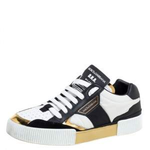 Dolce & Gabbana Tricolor Leather and Fabric Panelled Miami Trainer Sneakers Size 43