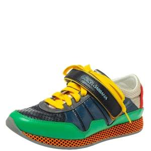 Dolce & Gabbana Multicolor Patent And Perforated Leather Low Top Sneakers Size 39