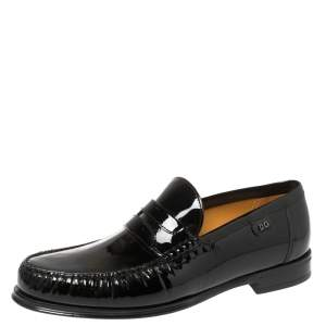 Dolce and Gabbana Black Patent Leather Penny Loafers Size 40