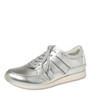 Dolce & Gabbana Metallic Silver Perforated Leather Lace Up Low Top Sneakers Size 41