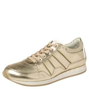 Dolce & Gabbana Metallic Gold Perforated Leather Lace Up Low Top Sneakers Size 42.5