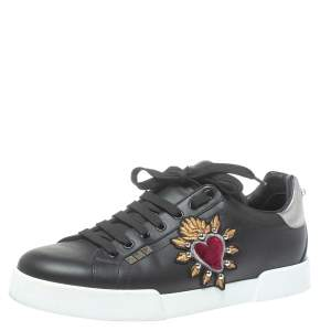Dolce and Gabbana Black Leather Heart Low Top Sneakers Size 43.5