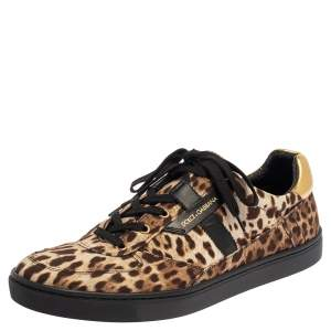 Dolce and Gabbana Brown Leopard Print Canvas Sneakers Size 45