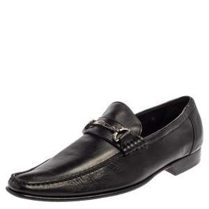 Dolce and Gabanna Black Leather Bit Slip On Loafers Size 42