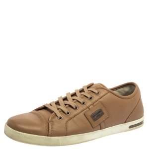 Dolce & Gabbana Beige Leather Cap Toe Low Top Sneakers Size 45