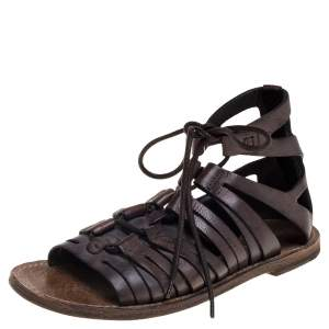 Dolce & Gabbana Brown Leather Gladiator Sandals Size 41.5