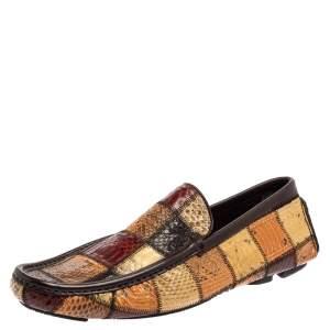 Dolce & Gabbana Multicolor Patchwork Snakeskin Leather Loafers Size 41