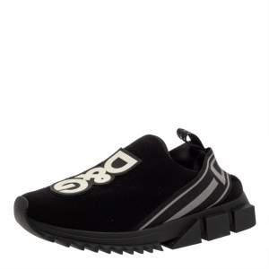 Dolce & Gabbana Black Knit Fabric Sorrento Sneakers Size 42