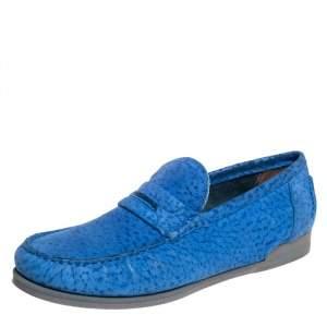Dolce & Gabbana Blue Textured Suede Genova Slip On Loafers Size 43
