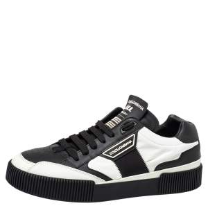 Dolce & Gabbana Black/White Leather And Nylon Miami Low Top Sneakers Size 42