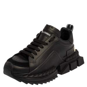 Dolce & Gabbana Black Leather Super King Sneakers Size 42