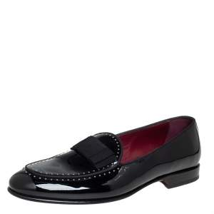 Dolce & Gabbana Black Patent Leather Studded Slip On Loafers Size 43