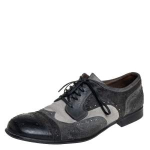 Dolce & Gabbana Grey Brogue Leather And Textured Suede Lace Up Derby Size 43.5