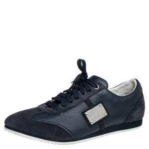 Dolce & Gabbana Black/Blue Suede And Leather Logo Plaque Sneakers Size 41