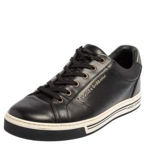 Dolce & Gabbana Black Leather Low Top Sneakers Size 41