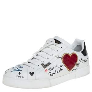Dolce & Gabbana White Leather Portofino Low Top Sneakers Size 43