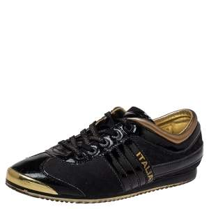 Dolce & Gabbana Black Patent Leather And Nylon Low Top Sneakers Size 40