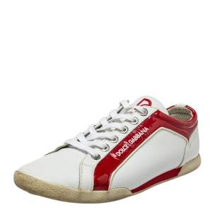 Dolce & Gabbana White/Red Patent And Leather  Low Top Sneakers Size 42