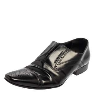 Dolce & Gabbana Black Leather Slip On Oxfords Size 41