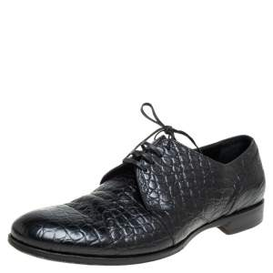 Dolce & Gabbana Black Croc Embossed Leather Lace Up Derby Size 43