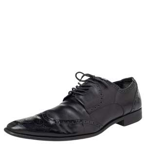 Dolce & Gabbana Black Brogue Leather Lace Up Derby Size 43
