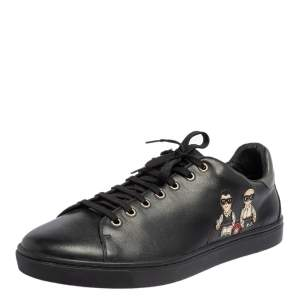 Dolce & Gabbana Black Leather Designers Patch Low Top Sneakers Size 45