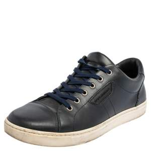 Dolce & Gabbana Blue Leather Low Top Sneakers Size 41
