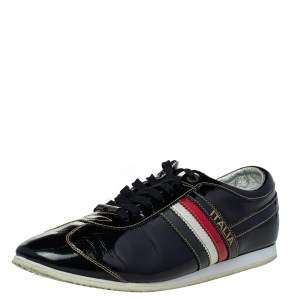 Dolce & Gabbana Black Patent Leather Low Top Sneakers Size 44