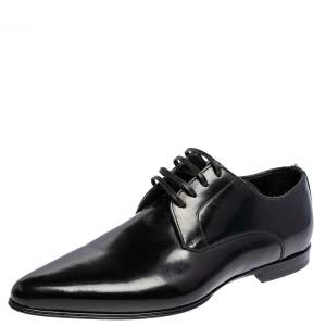 Dolce & Gabbana Black Patent Leather Pointed Oxford Size 39.5