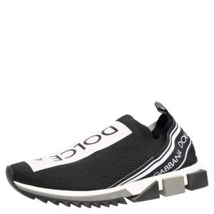 Dolce & Gabbana Black/White Knit Fabric Sorrento Slip On Sneakers Size 46
