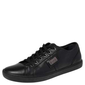 Dolce & Gabbana Black Leather Cap Toe Low Top Sneakers Size 43