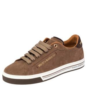 Dolce & Gabbana Brown Suede Low Top Sneakers Size 39