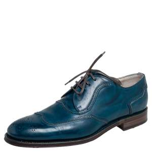 Dolce & Gabbana Blue Brogue Leather Lace Up Oxford Size 42