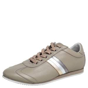 Dolce & Gabbana Grey Leather Lace Up Low Top Sneakers Size 41.5