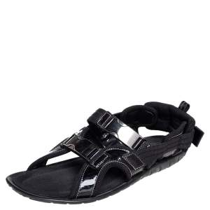 Dolce & Gabbana Black Patent Leather and Fabric Velcro Strap Sandals Size 41