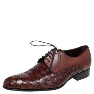 Dolce & Gabbana Brown Woven Leather Lace Derby Size 41