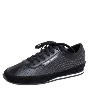Dolce & Gabbana Black Leather And Suede Lace Up Sneakers Size 41.5