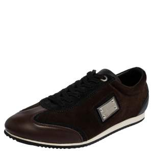 Dolce & Gabbana Brown Suede And Leather Lace Up Sneakers Size 41
