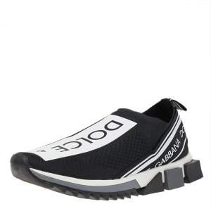 Dolce & Gabbana Black/White Knit Fabric Sorrento Slip On Sneakers Size 43