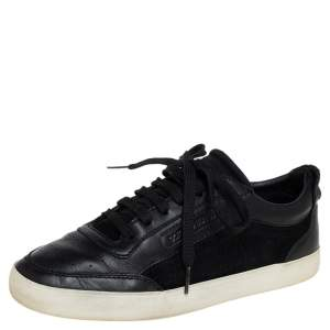 Dolce & Gabbana Black Suede And Leather Low Top Sneakers Size 40.5