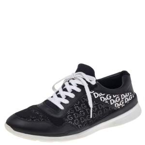 Dolce & Gabbana Black Leather And Mesh Low Top Sneakers Size 45