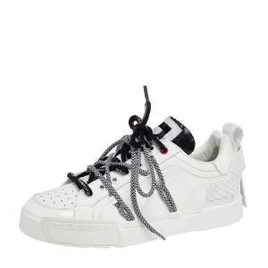 Dolce & Gabbana White Leather Portofino Low Top Sneakers Size 42.5