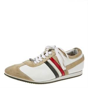 Dolce & Gabbana Beige/White Leather And Suede Low Top Sneakers Size 42